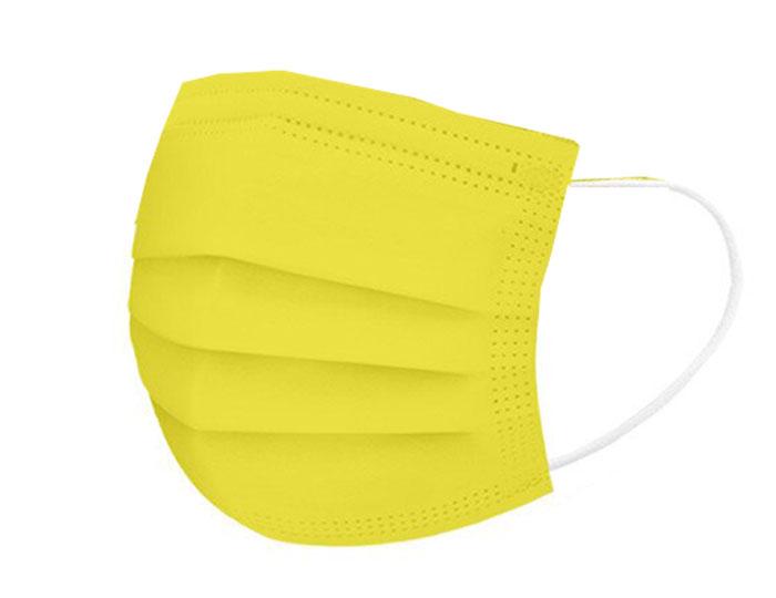 Κίτρινες μάσκες προστασίας προσώπου μίας χρήσης 3-ply